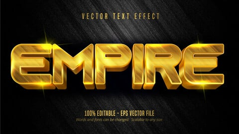 Empire text, luxury golden color editable text effect on textured background