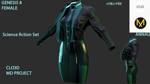 GENESIS 8 FEMALE: Science fiction Set: CLO3D, MARVELOUS DESIGNER PROJECT| +OBJ +FBX