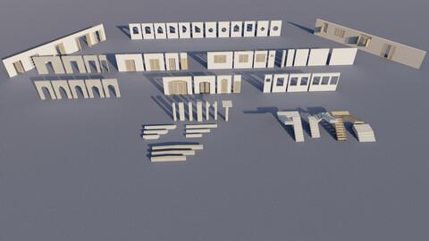 Architectural KITBASH 71 PCS Building  Model + Materials  Real Size