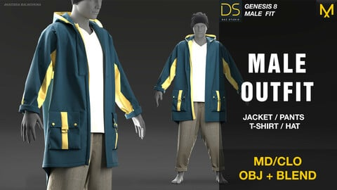 Male outfit. MD/CLO + OBJ + BLEND