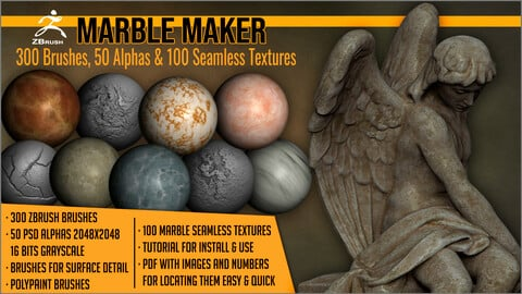 Marble Maker: 300 ZBrush Brushes, 50 Alphas, and 100 Seamless Textures