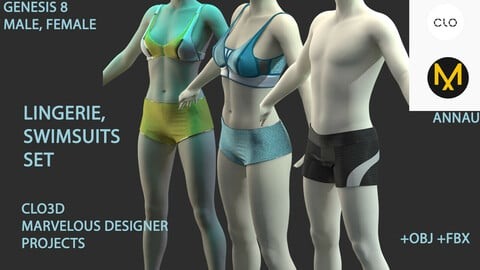 GENESIS 8 MALE, FEMALE: LINGERIE,  SWIMSUITS  SET: CLO3D, MARVELOUS DESIGNER PROJECTS| +OBJ +FBX