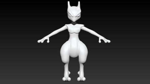Mewtwo Pokemon 3d Model