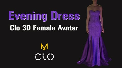 Violet evening dress. Clo 3d Standart Avatar Female_V2