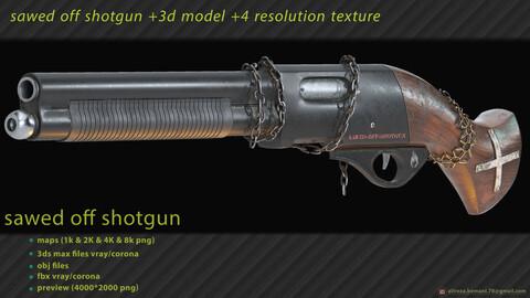 Sawed Off Shotgun + 4 textures resolutions