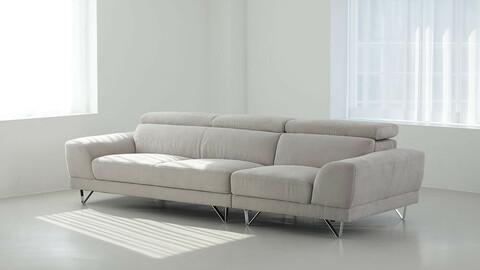 Aqua Fabric Loan 4 Seater Sofa 3colors
