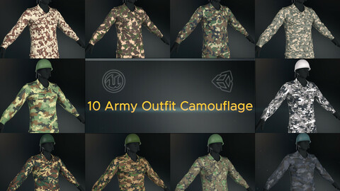10 Army Outfit Camouflage - 3D Model