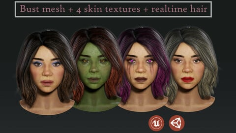 Bust + 4 skins + HAIR realtime