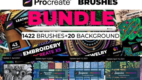 MegaBUNDLE PROCREATE Brushes, 1460 Brushes, 20 Textures Procreate, lifetime renewal