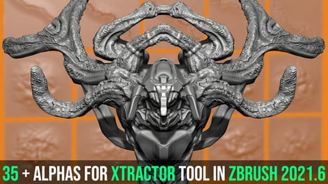 38 Alphas For Xtractor Tool In Zbrush2021.6