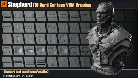 Shepherd| 110 Hard Surface VDM Brushes for Zbrush