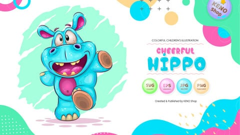 Cheerful cartoon hippo