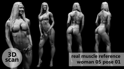 3D scan real muscleanatomy Woman05 pose 01