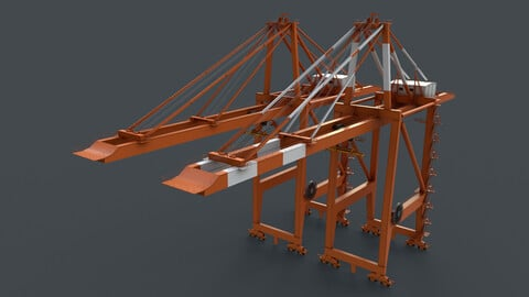 PBR Quayside Container Crane V2 - Orange