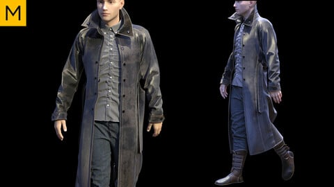Mens clothing with coat. Avatar genesis 8 Male. Marvelous Designer, Clo3d project + OBJ/FBX files.(18)