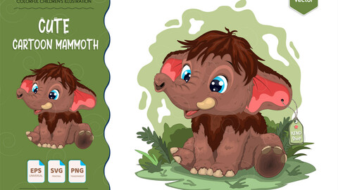 Cute cartoon mammoth