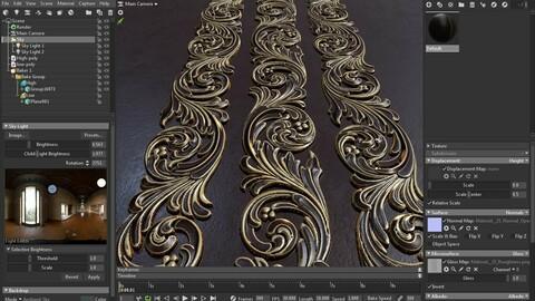 70 Ornament Trim Brushes+3D Model+ Alpha (4k)-Vol 01