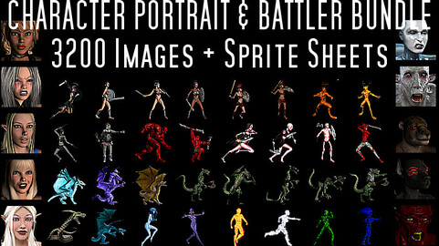 3200 Character Portrait & Side View Battler - Game Asset Bundle