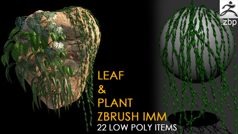 Zbrush leaf and plant IMM (LOW POLY) + video
