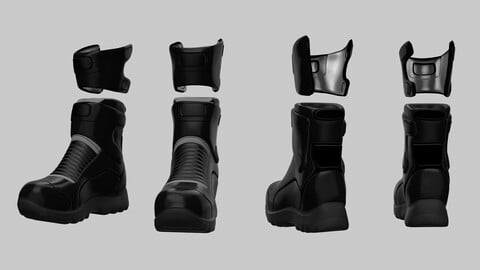 Military boots 3D model - High Poly - Shoes & Clothing