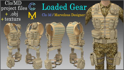 Tactical Vest - Loaded Gear / Marvelous Designer, Clo3d project