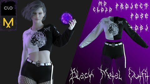 Marvelous designer/Clo3d Black Metal outfit (Shirts/Hoodie-top/Pantyhose) Zprj/Obj/Pose