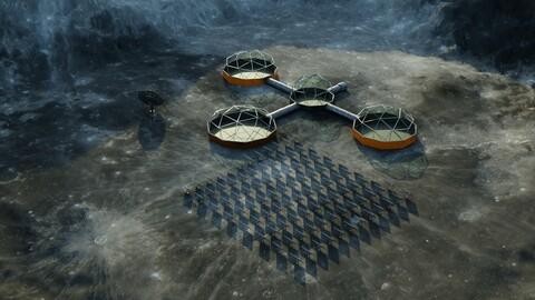 Moon Martian base 3D model