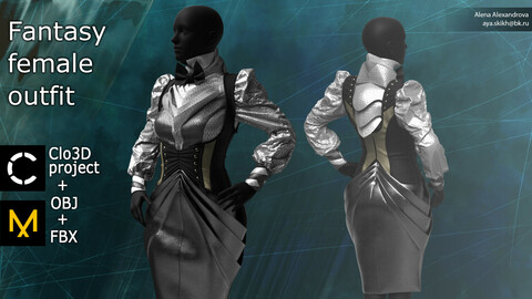 Fantasy female outfit. Blouse, skirt and corset. Clo3D project, Marvelous Designer.