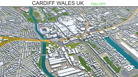 Cardiff city Wales UK 3d model 30 km