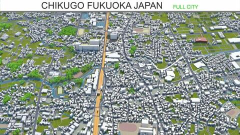 Chikugo city Fukuoka Japan 3d model 20km