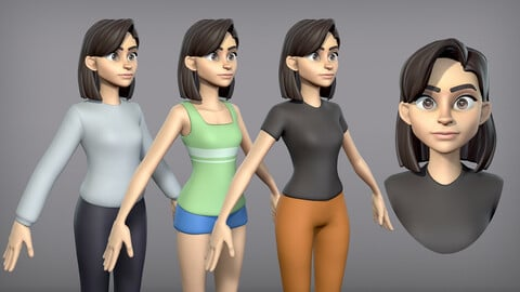 Cartoon Girl with 3 outfits