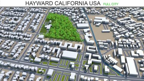 Hayward city California USA 3d model 20km