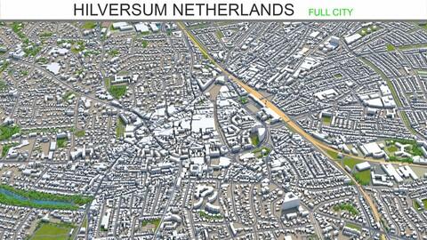 Hilversum city Netherlands 3d model 20km