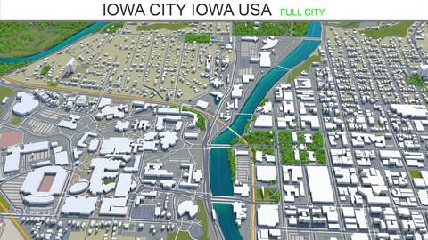 Iowa City Iowa USA 3d model 20km