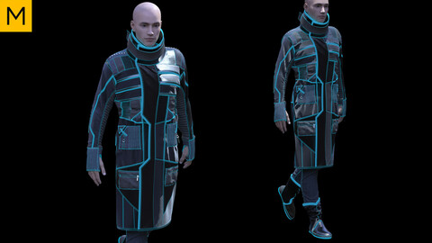 Sci-Fi / Cyberpunk Male Clothing. Avatar genesis 8 Male. Marvelous Designer, Clo3d project + OBJ/FBX files.(19)