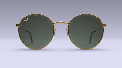 Ray-Ban Women Metal Round Sunglasses 3D Model