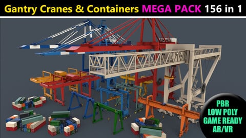 PBR Gantry Cranes & Cargo Containers - Mega Pack