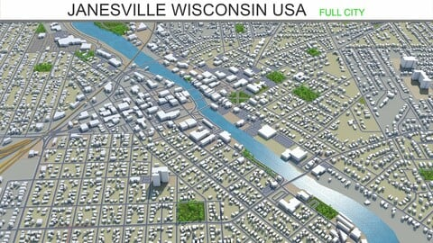 Janesville city Wisconsin USA 3d model 30km