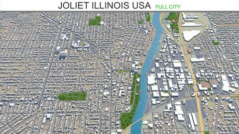 Joliet city Illinois USA 3d model 40km