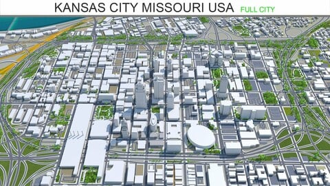 Kansas City Missouri USA 3d model 80km