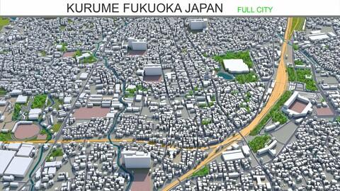 Kurume city Fukuoka Japan 3d model 50km