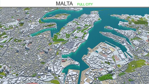 Malta city 3d model  50km