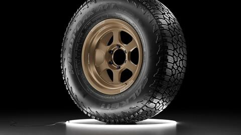Offroad car wheel Falken Wildpeak AT3W tire with TE37XT rim