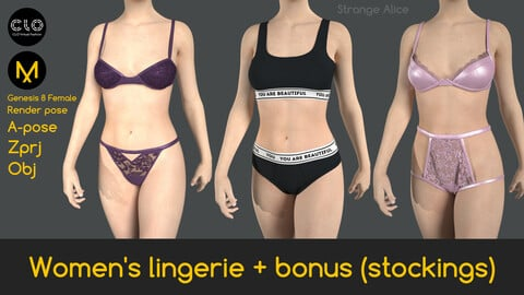Women's lingerie + bonus (stockings). Clo3d, Marvelous Designer projects.