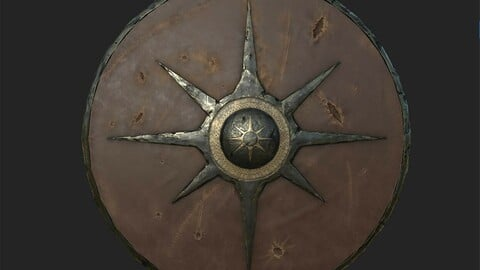 Viking historical leather-covered shield