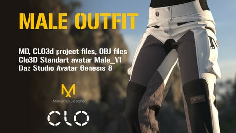 Male Outfit with pants and long-sleeve. MD, Clo3D Avatar and Genesis Avatar
