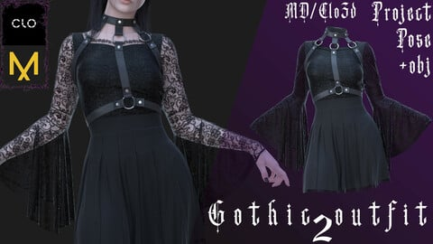 Clo3d/Marvelous designer Gothic outfit №2 (Dress/Harness/Underwear) Zprj/Obj/Pose