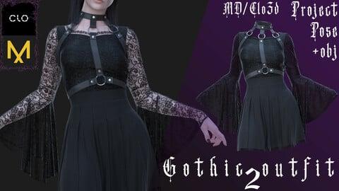 Clo3d/Marvelous designer Gothic outfit №2 (Dress/Harness/Underwear) Zprj/Obj/Pose
