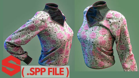 Substance painter file ( .spp ) : Elegant long sleeved women's shirt
