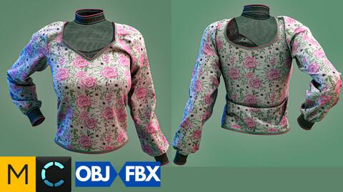 Marvelous designer + Clo3d + OBJ + FBX : Elegant long-sleeved women's shirt